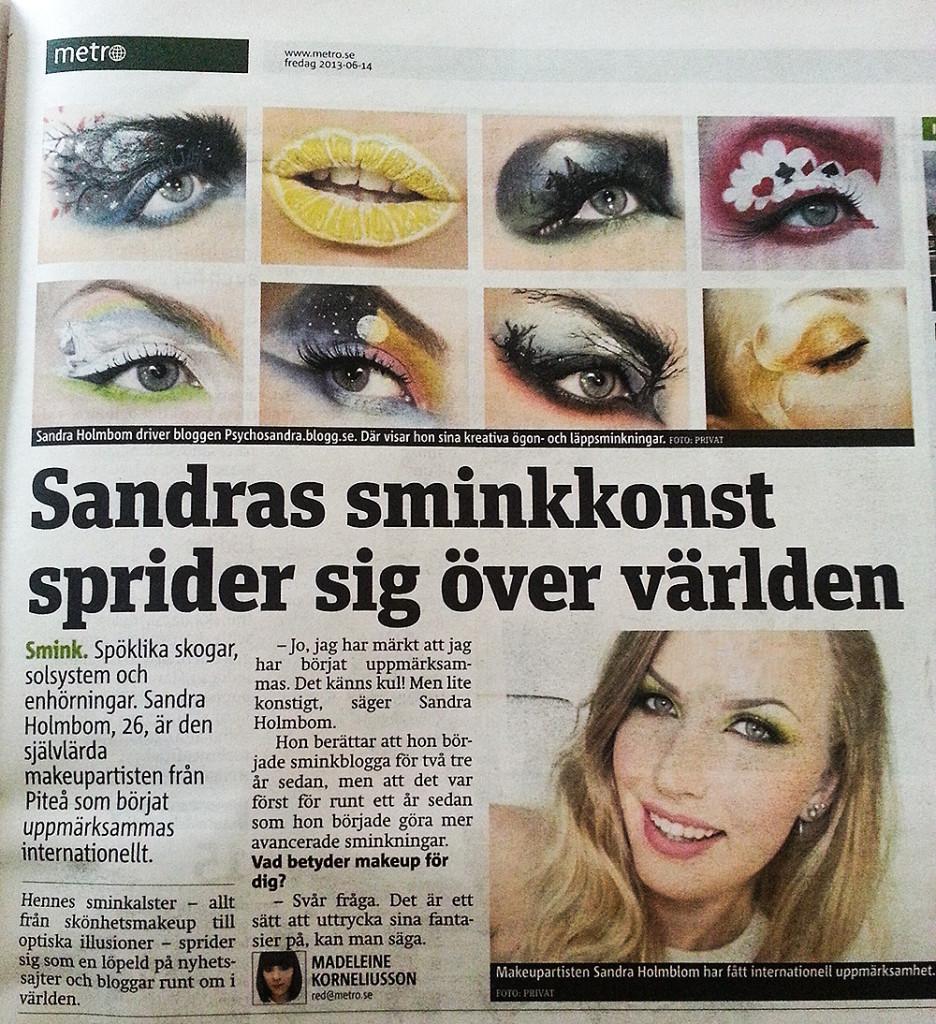 Sandra Holmblom och hennes kreativa sminkning i Metro 13-06-14